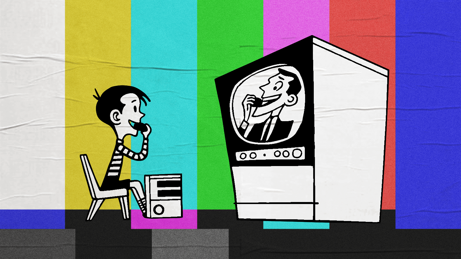 Cartoon illustration of child mimicking what he sees on TV